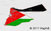 Flag Panoramic Map of Jordan