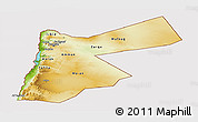Physical Panoramic Map of Jordan, cropped outside
