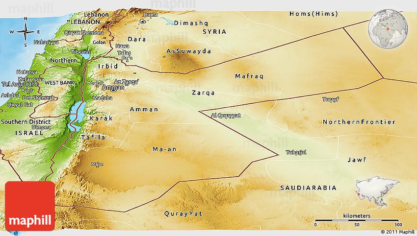 Physical Panoramic Map of Jordan