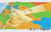 Physical Panoramic Map of Jordan, political outside, shaded relief sea