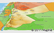 Physical Panoramic Map of Jordan, political shades outside, shaded relief sea