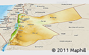 Physical Panoramic Map of Jordan, shaded relief outside