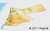 Physical Panoramic Map of Jordan, single color outside