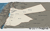 Shaded Relief Panoramic Map of Jordan, darken