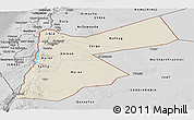 Shaded Relief Panoramic Map of Jordan, desaturated