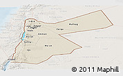 Shaded Relief Panoramic Map of Jordan, lighten