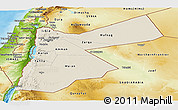 Shaded Relief Panoramic Map of Jordan, physical outside