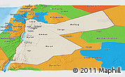 Shaded Relief Panoramic Map of Jordan, political outside, shaded relief sea