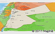 Shaded Relief Panoramic Map of Jordan, political shades outside, shaded relief sea