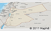 Shaded Relief Panoramic Map of Jordan, semi-desaturated, land only
