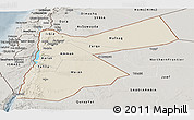 Shaded Relief Panoramic Map of Jordan, semi-desaturated