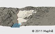 Shaded Relief Panoramic Map of Salt (Balqa), darken