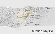 Shaded Relief Panoramic Map of Salt (Balqa), desaturated