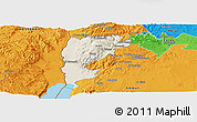 Shaded Relief Panoramic Map of Salt (Balqa), political outside