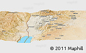 Shaded Relief Panoramic Map of Salt (Balqa), satellite outside
