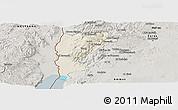 Shaded Relief Panoramic Map of Salt (Balqa), semi-desaturated