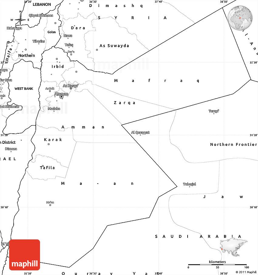 Blank Simple Map Of Jordan - Map of jordan