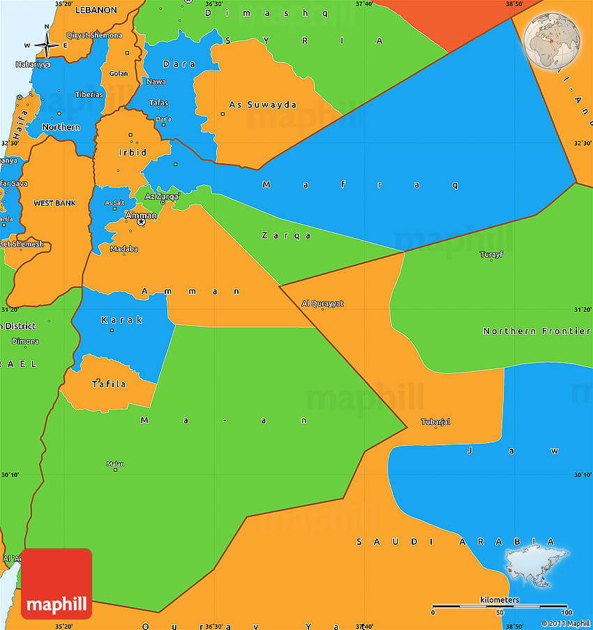 Political Map Of Jordan.Political Simple Map Of Jordan