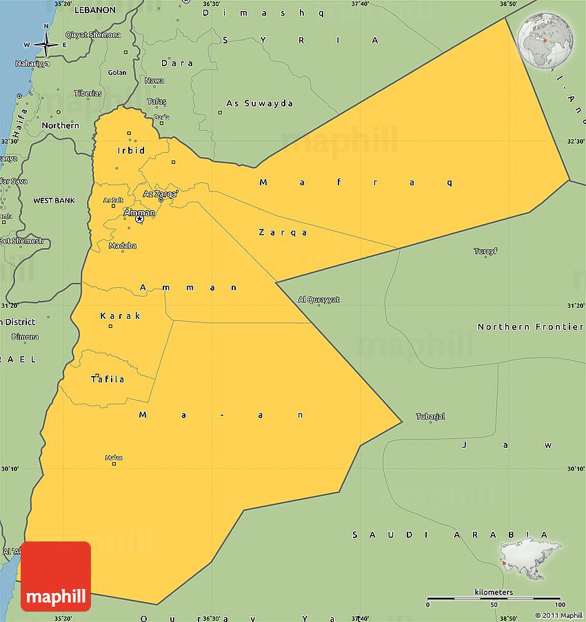 Savanna Style Simple Map Of Jordan - Jordan map