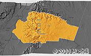 Political 3D Map of Tafila, darken, desaturated