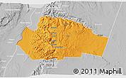 Political 3D Map of Tafila, lighten, desaturated