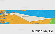 Shaded Relief Panoramic Map of Zarqa, political outside