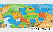Political 3D Map of Kazakhstan