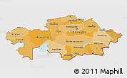 Political Shades 3D Map of Kazakhstan, cropped outside