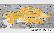 Political Shades 3D Map of Kazakhstan, desaturated
