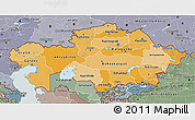 Political Shades 3D Map of Kazakhstan, semi-desaturated, land only
