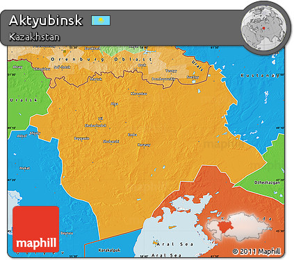 Free Political Map of Aktyubinsk