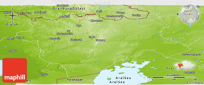 Physical Panoramic Map of Aktyubinsk