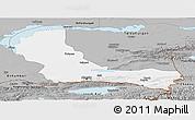 Gray Panoramic Map of Alma-Ata