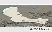 Shaded Relief Panoramic Map of Alma-Ata, darken