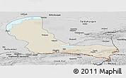 Shaded Relief Panoramic Map of Alma-Ata, desaturated