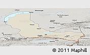 Shaded Relief Panoramic Map of Alma-Ata, semi-desaturated