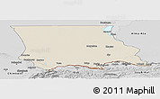 Shaded Relief Panoramic Map of Dzhambul, desaturated