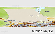 Shaded Relief Panoramic Map of Dzhambul, physical outside