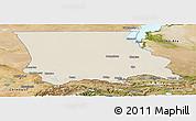 Shaded Relief Panoramic Map of Dzhambul, satellite outside
