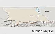 Shaded Relief Panoramic Map of Dzhambul, semi-desaturated