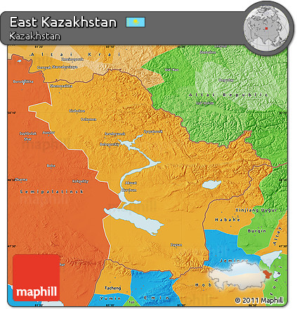 Kazakhstan Political Map.Free Political Map Of East Kazakhstan