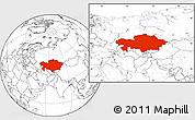 Blank Location Map of Kazakhstan