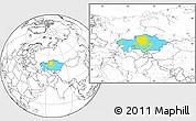 Flag Location Map of Kazakhstan, blank outside