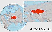 Gray Location Map of Kazakhstan