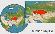 Satellite Location Map of Kazakhstan