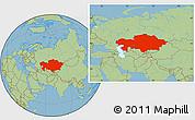 Savanna Style Location Map of Kazakhstan
