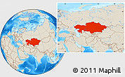 Shaded Relief Location Map of Kazakhstan