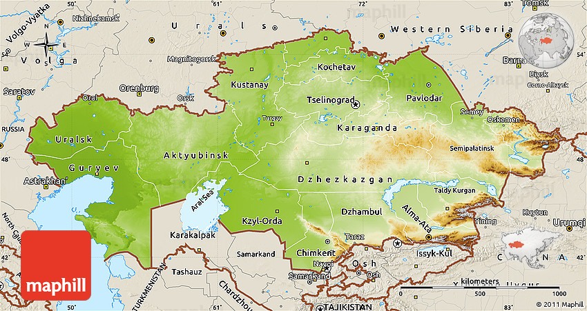 Physical Map of Kazakhstan shaded relief outside