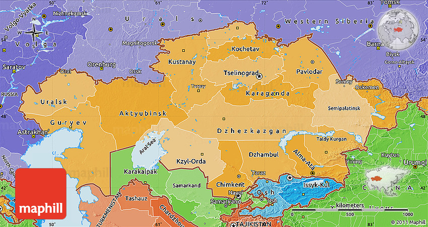 Kazakhstan Political Map.Political Shades Map Of Kazakhstan