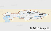 Classic Style Panoramic Map of Kazakhstan, single color outside